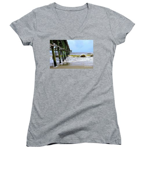 Oak Island Pier Before H.matthew Women's V-Neck T-Shirt (Junior Cut) by Shelia Kempf