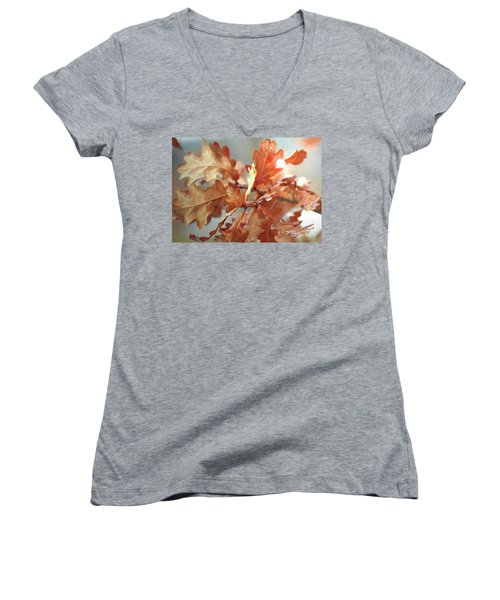 Oak Leaves In Autumn Women's V-Neck T-Shirt (Junior Cut) by Wilhelm Hufnagl