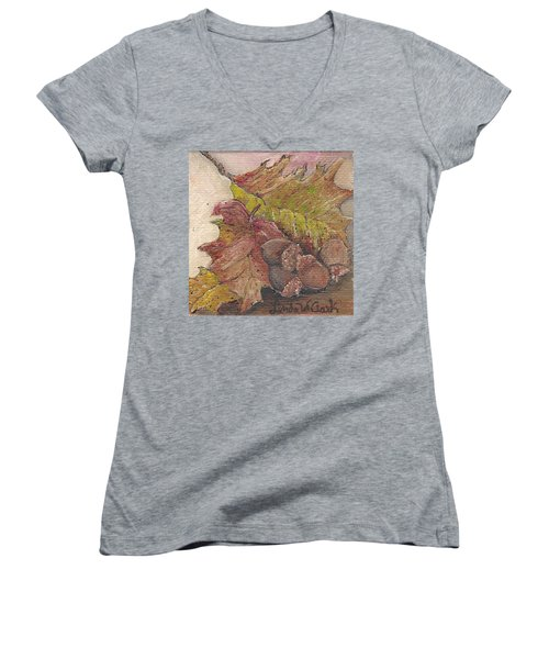 Oak Leaves Women's V-Neck T-Shirt