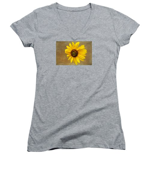 Women's V-Neck T-Shirt (Junior Cut) featuring the photograph Oak Street Sunflower by Tom Singleton