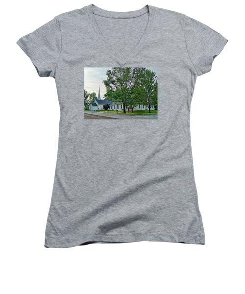 Women's V-Neck T-Shirt (Junior Cut) featuring the photograph Oakland Christian Church by Cricket Hackmann