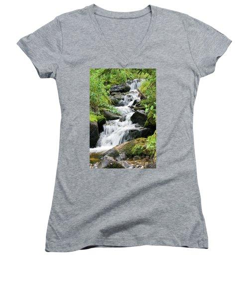 Women's V-Neck T-Shirt (Junior Cut) featuring the photograph Oasis Cascade by David Chandler
