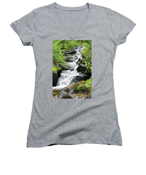 Women's V-Neck T-Shirt featuring the photograph Oasis Cascade by David Chandler