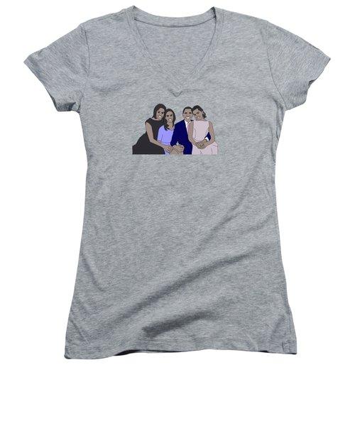 Obama Family Women's V-Neck T-Shirt
