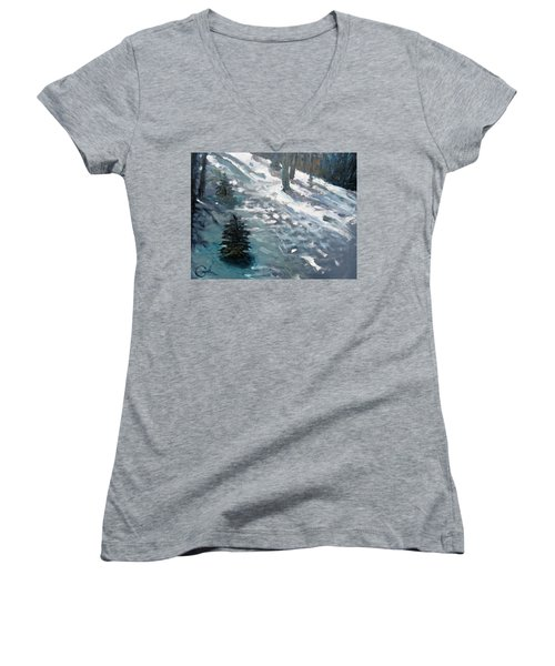 Women's V-Neck T-Shirt (Junior Cut) featuring the painting Observing Snow by Gary Coleman