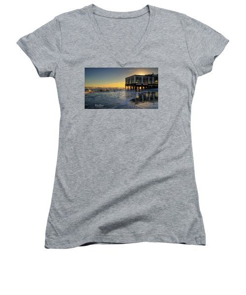 Oc Music Pier Sunset Women's V-Neck T-Shirt