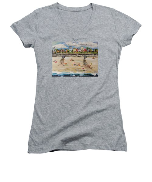 Women's V-Neck T-Shirt (Junior Cut) featuring the painting Ocean Ave By John Williams by John Williams