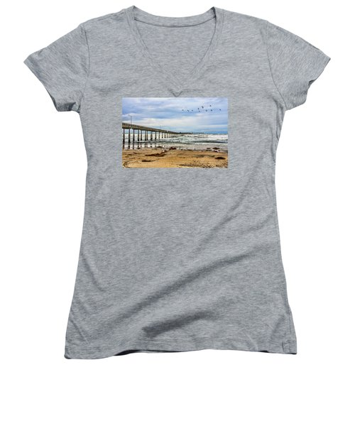 Ocean Beach Pier Fishing Airforce Women's V-Neck T-Shirt (Junior Cut) by Daniel Hebard