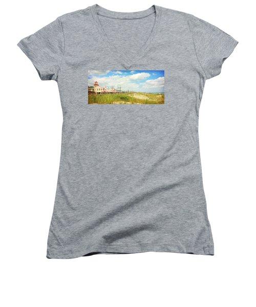 Ocean City Boardwalk Music Pier And Beach Women's V-Neck T-Shirt