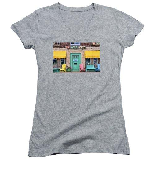 Ocean City N J Surf Cafe Women's V-Neck T-Shirt (Junior Cut) by Allen Beatty