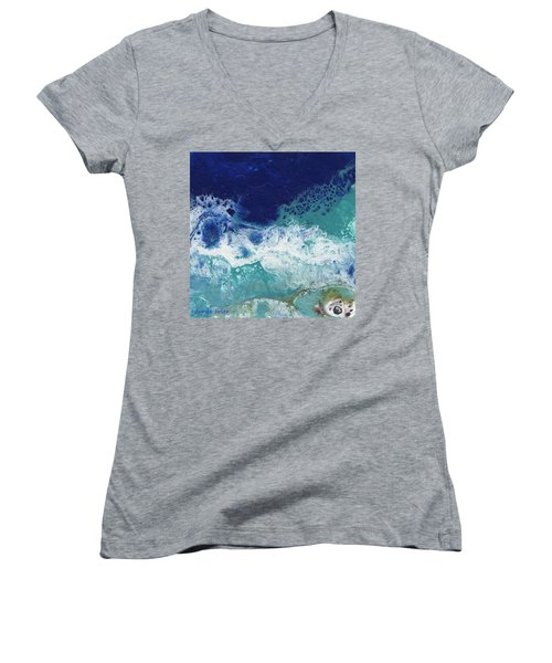 Women's V-Neck T-Shirt featuring the painting Ocean by Jamie Frier