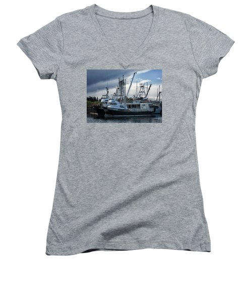 Ocean Phoenix Women's V-Neck T-Shirt (Junior Cut) by Randy Hall