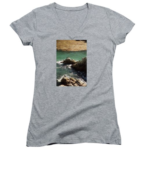 Ocean Rock Near Carmel Women's V-Neck T-Shirt