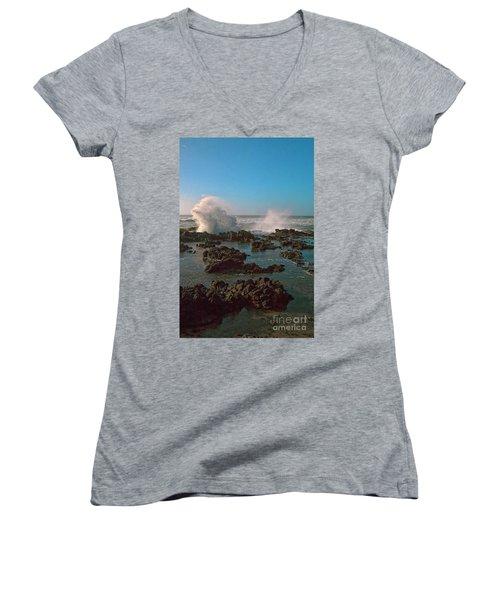 Ocean Spray Women's V-Neck T-Shirt (Junior Cut) by Billie-Jo Miller