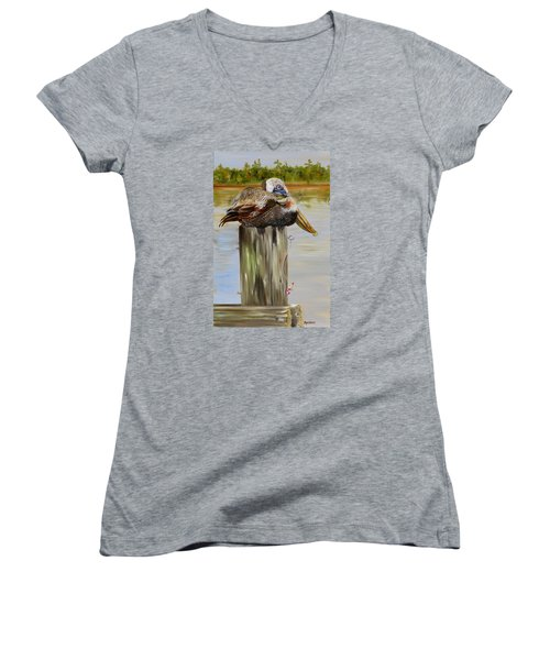 Women's V-Neck T-Shirt (Junior Cut) featuring the painting Ocean Springs Pelican by Phyllis Beiser