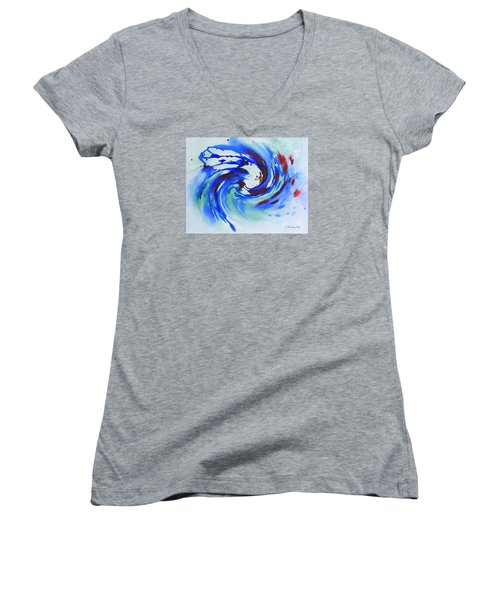 Ocean Wave Watercolor Women's V-Neck (Athletic Fit)