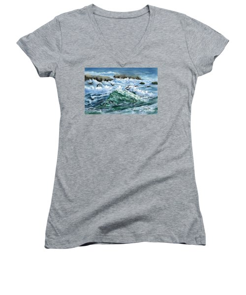 Women's V-Neck T-Shirt (Junior Cut) featuring the painting Ocean Waves And Pelicans by Judy Filarecki