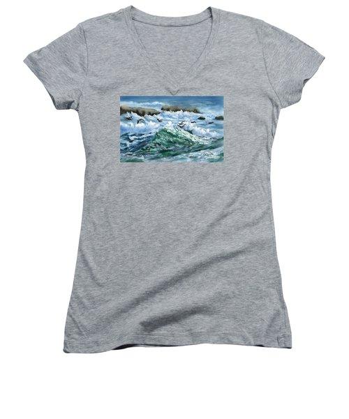 Ocean Waves And Pelicans Women's V-Neck T-Shirt (Junior Cut) by Judy Filarecki