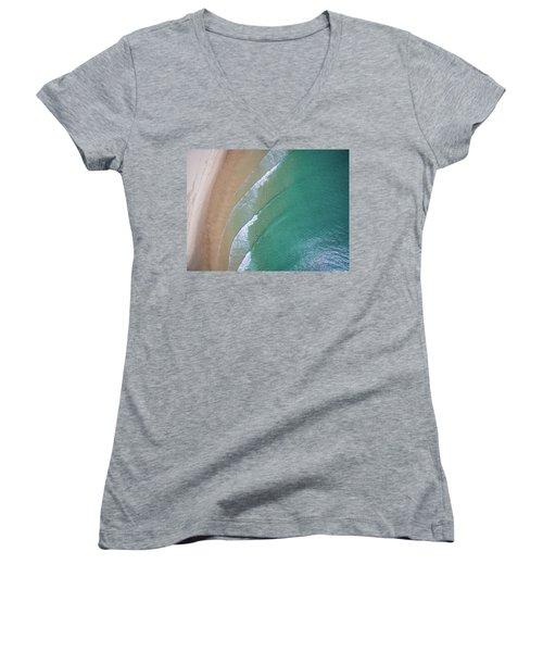 Ocean Waves Upon The Beach Women's V-Neck