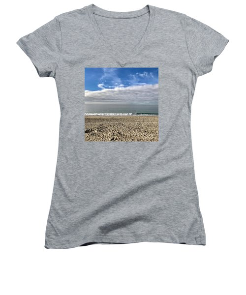 Women's V-Neck T-Shirt (Junior Cut) featuring the photograph Ocean's Edge by Kim Nelson