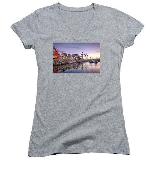 Oceanside Harbor Women's V-Neck T-Shirt (Junior Cut) by Ann Patterson
