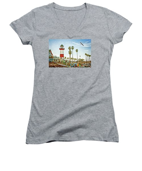 Oceanside Harbor Lighthouse Women's V-Neck (Athletic Fit)