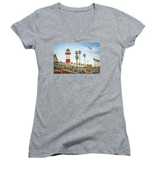 Oceanside Harbor Lighthouse Women's V-Neck T-Shirt