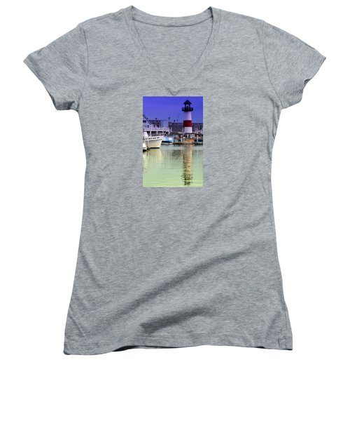 Oceanside Light Women's V-Neck T-Shirt (Junior Cut) by DJ Florek