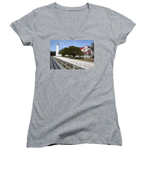 Ocracoke Lighthouse Women's V-Neck T-Shirt (Junior Cut) by Tony Cooper