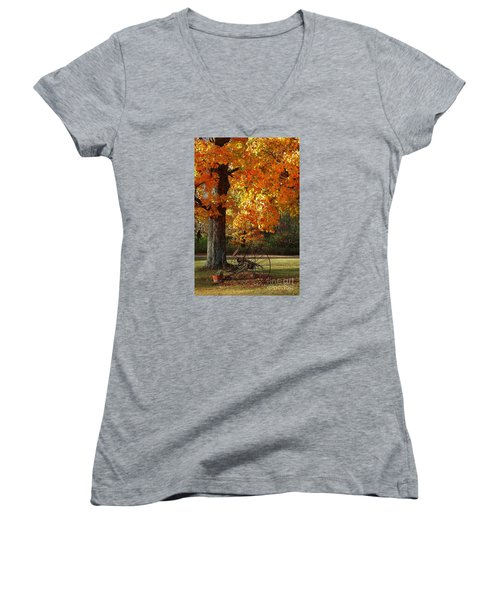 October Day Women's V-Neck T-Shirt (Junior Cut) by Diane E Berry