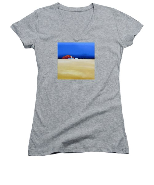 Women's V-Neck T-Shirt (Junior Cut) featuring the painting October Fields by Jo Appleby