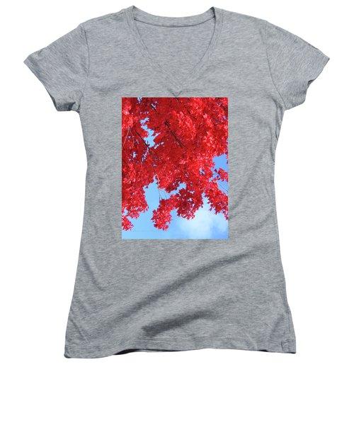 October In The Valley - Fire In The Sky Women's V-Neck T-Shirt (Junior Cut) by Brooks Garten Hauschild