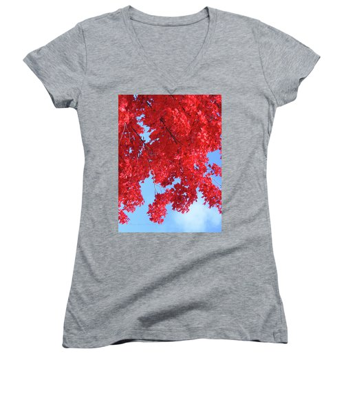 October In The Valley - Fire In The Sky Women's V-Neck T-Shirt