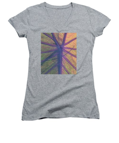 Women's V-Neck T-Shirt (Junior Cut) featuring the photograph October Leaf by Peg Toliver