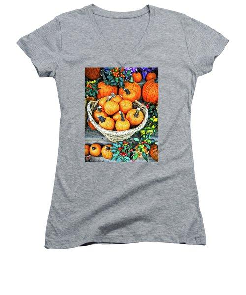Women's V-Neck T-Shirt (Junior Cut) featuring the photograph October Pumpkins by Joan Reese