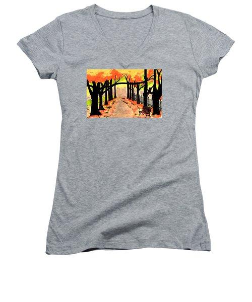 October- Salem Common Women's V-Neck T-Shirt