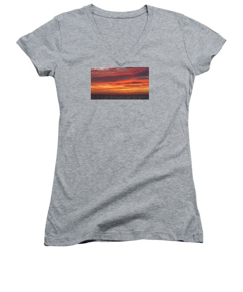 Women's V-Neck T-Shirt (Junior Cut) featuring the photograph October's Sunrise On Sanibel Island by Melinda Saminski