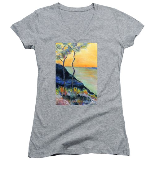 Ode To Monet Women's V-Neck T-Shirt (Junior Cut) by Jodie Marie Anne Richardson Traugott          aka jm-ART