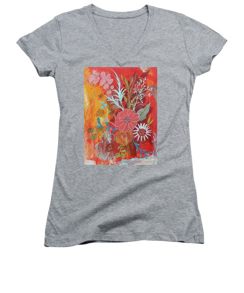 Women's V-Neck T-Shirt featuring the painting Ode To Spring by Robin Maria Pedrero