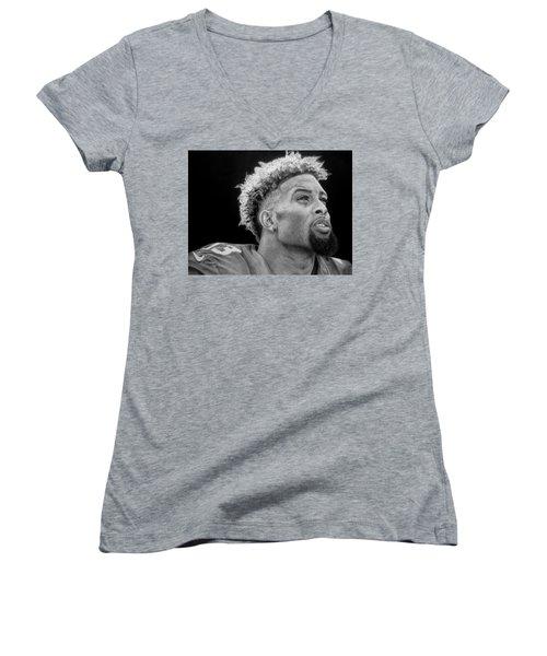 Odell Beckham Jr. Drawing Women's V-Neck T-Shirt (Junior Cut) by Angelee Borrero