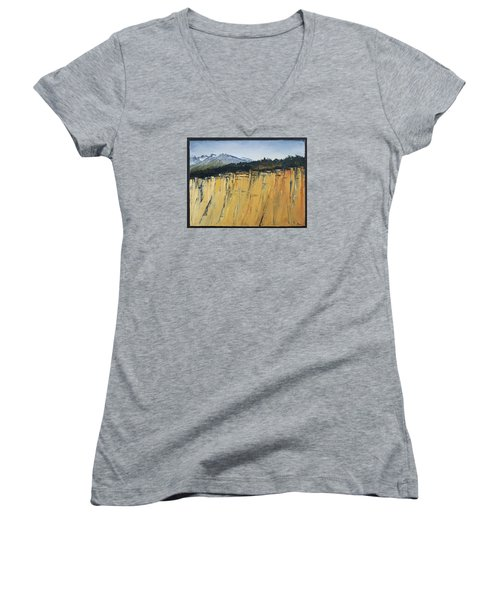 Of Bluff And Mountain Women's V-Neck T-Shirt (Junior Cut) by Carolyn Doe