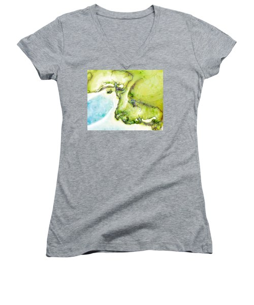 Women's V-Neck T-Shirt (Junior Cut) featuring the digital art Of Earth And Water by Michelle H