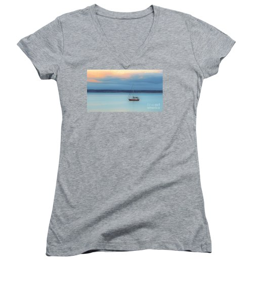 Women's V-Neck T-Shirt (Junior Cut) featuring the photograph Off Sailing by Stephen Mitchell