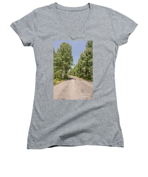 Women's V-Neck T-Shirt (Junior Cut) featuring the photograph Off The Beaten Path by Sue Smith