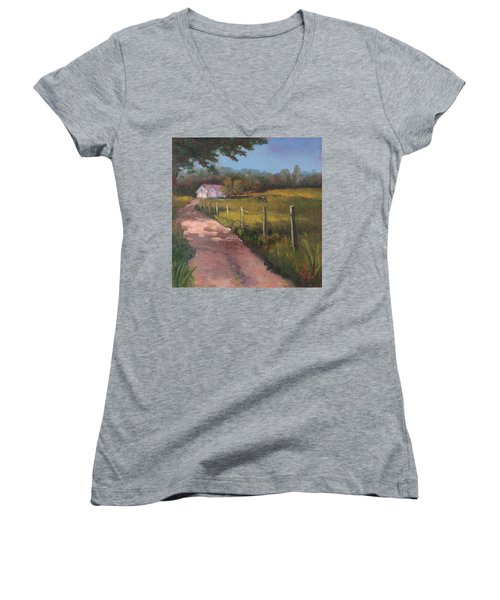 Off The Path In Whiting Bay Women's V-Neck T-Shirt (Junior Cut) by Trina Teele