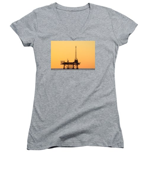 Offshore Oil And Gas Platform  Women's V-Neck