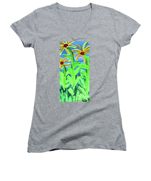 Oh Glorious Day Women's V-Neck T-Shirt (Junior Cut) by Roberta Byram