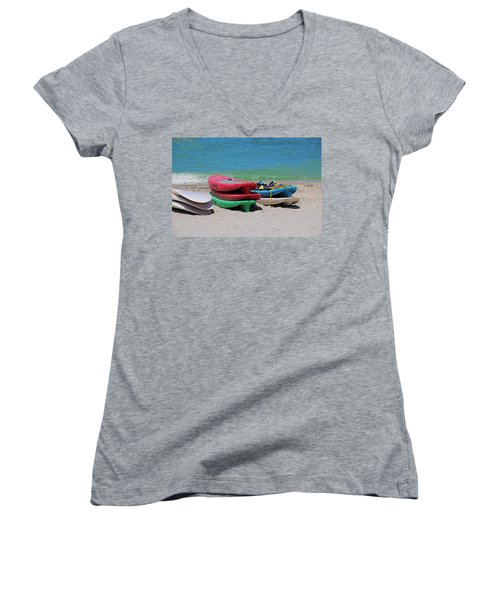 Women's V-Neck T-Shirt featuring the photograph Oh The Beach Life by Michiale Schneider