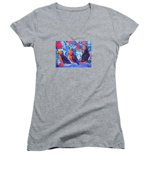 Women's V-Neck T-Shirt (Junior Cut) featuring the painting Oh Those Puffins by Nancy Jolley