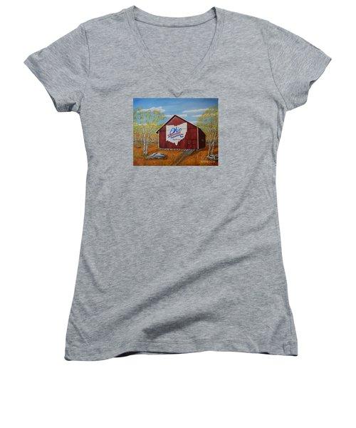Ohio Bicentennial Barns 22 Women's V-Neck T-Shirt (Junior Cut) by Melvin Turner